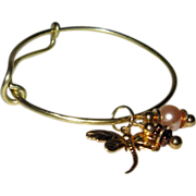Expandable Brass Bracelet With Dragonfly and Glass Pearl Charms