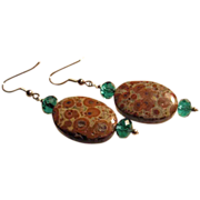 SALE 20% OFF Mexican Obicular Jasper With Teal Crystal Earrings