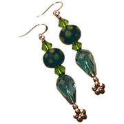 SALE 20% OFF Polka Dot Aqua Lampwork and Cut Glass Earrings