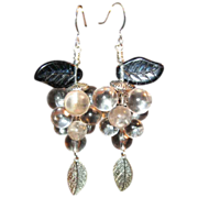 Lucite Grape Cluster Earrings With Blue Glass Leaf