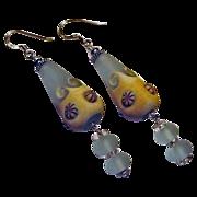 SOLD 20% OFF Aqua Sea Foam Lampwork & Sterling Silver Earrings