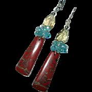 Red River Jasper Apatite Lemon Quartz Sterling Silver Earrings