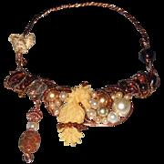 SALE 20% OFF 'Beach Bar' Carved Bone Seahorse Gemstone Glass Pearl Neckwire