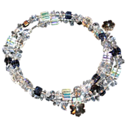 SALE 20% OFF Memory Wire Choker Snowflake Crystal With Blue Glass Chips