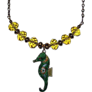 SOLD Green Cloisonne Seahorse With Cut Glass Yellow Beads Necklace
