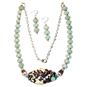 SALE 20% OFF Amazonite with Lampwork Glass Necklace and Earrings