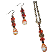 SALE 20% OFF Orange Crystals With Lampwork Pendant And Earrings