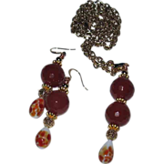 SALE 20% OFF Faceted Carnelian Necklace and Earring Set