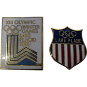 Two (2) 1980 Lake Placid Olympic Lapel Pins