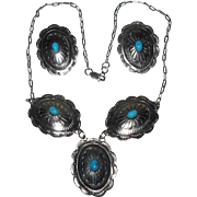 Native American Navajo Sterling Concho Turquoise Neclace Earrings Signed