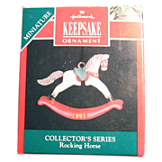 SALE 50% OFF 1991 Hallmark Miniature Rocking Horse Collector's Series Christmas Ornament Boxed