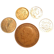 SOLD Five (5) Vintage Coins Finland Gibraltar Ireland Luxembourg Lot - Red Tag Sale Item