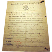 WW1 US Army Honorable Discharge Paper Arthur S. Lee