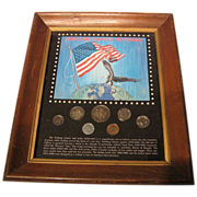 SALE 50% OFF Magnificently Natural Toned Coins in Collector's Frame