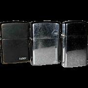 Three Vintage Zippo Lighters