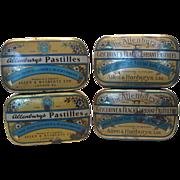 Four (4) Allenburys Pastilles Tins Two Designs 1930's
