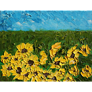 Sunflowers field beautiful original oil daily painting by contemporary artist Monica Fallini