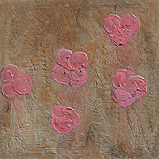 "Pink Poppies soft pastel colors unique acrylic painting 22""x22"" by contemporary arti"