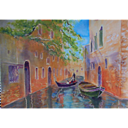 Venice canal and gondola original painting by Monica Fallini