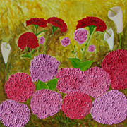 Flowers in the garden original oil painting by Fallini