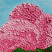 Pink Hydrangeas oil painting on canvas abstract floral art by contemporary artist Monica Falli