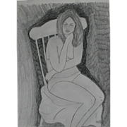 Seated female nude graphite sketch original unique art by contemporary artist Monica Fallini
