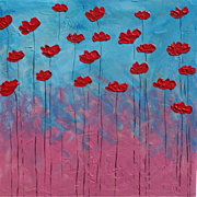 Red Poppies painting diptych modern original by Monica Fallini