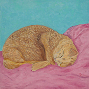 Oil painting sleeping cat kitty portrait on canvas by Monica Fallini