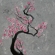 Original painting Zen Cherry blossoms tree pink flowers by Monica Fallini
