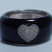 Vintage Jewelry 925 Sterling Silver Black Enamel Diamond Finish Heart Ring Band