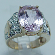 "Pink Kunzite 0.20ct Diamond ""14K Yellow Gold"" Ring Large 7.9 Grams Size 6 ..."