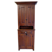 SALE Step Back Country Cupboard Pine American Circa 1870