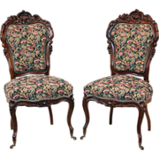 SALE Pair of American Victorian Side Chairs in Rosewood c.1860
