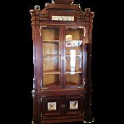 Corner Cupboard Cabinet American Victorian in Walnut c. 1880