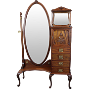 SALE Cheval Mirror Lingerie Chest American c. 1890's