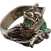 Amazing Chinese Export Jade Dragon Sterling Ring Sz 11
