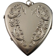 Huge Vintage Sterling Heart Floral Locket