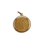 1901 US 10 Dollar Gold Coin 18K Bezel Pendant