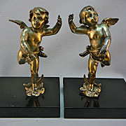 SALE Early 20th Century Signed French Cherub Bookends Silver On Bronze Marble Base