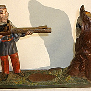 SOLD Antique Cast Iron Mechanical Bank J E Stevens Creedmoor Shooter