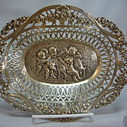 Antique Pierced 800 German Silver Repousse Bowl W Cherubs & Goat
