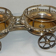 Antique English Silver Plate Double Wine Wagon Caddy