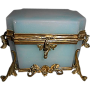 SALE Royal Palais French Opaline Glass Jewelry Casket Box W Bronze Ormolu