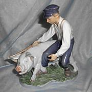REDUCED Large Vintage Royal Copenhagen Porcelain Shepherd Boy W Pig Thomsen Christian