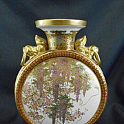 SALE Old Japanese Satsuma Pottery Moon Flask Vase Wisteria
