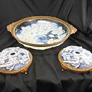SALE French Art Deco Opalescent Glass Ormolu Bowl W Candleholders Garniture Set