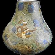 SOLD Vintage Los Castillos Silver Plate Mixed Metal Inlay Stone Vase