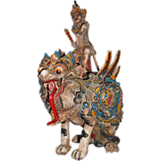 Vishnu & Garuda Hindu Asian Polychrome Sculpture Wood Early 20th C