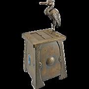 SOLD Antique Mechanical English Art & Crafts Metal Cigarette Box Holder Stork