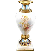 SALE Antique French Sevres Style Enameled Porcelain Mini Urn Cherubs